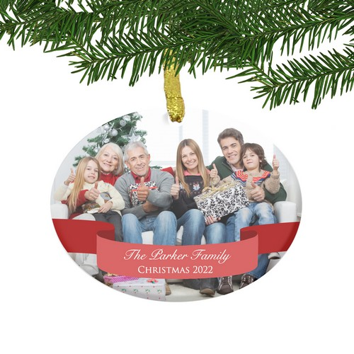Personalized Glass Family Photo Ornament