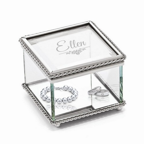 Personalized Glass Jewelry Trinket Box for Her