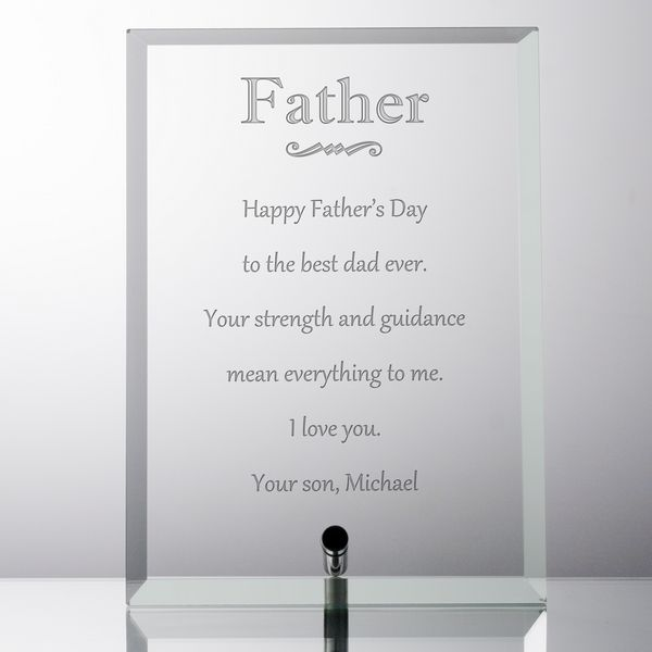 Personalized Glass Keepsake Plaque For Dad