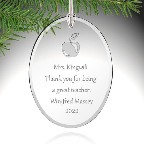 Personalized Glass Teacher Ornament