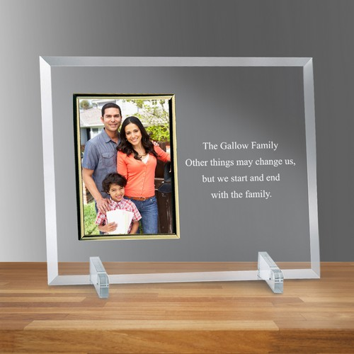 "Personalized Glass Vertical Gold 4"" X 6"" Picture Frame"
