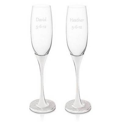 Personalized Glitter Galore Wedding Toasting Flutes
