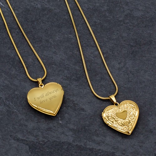 Elegant Personalized Gold Heart Locket Necklace