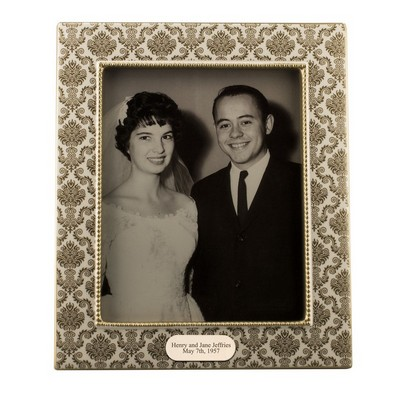 Personalized Gold Patterned Ceramic 8x10 Picture Frame