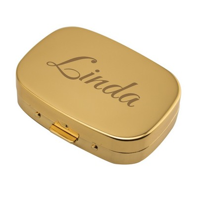 Personalized Gold Rectangle Pill Box
