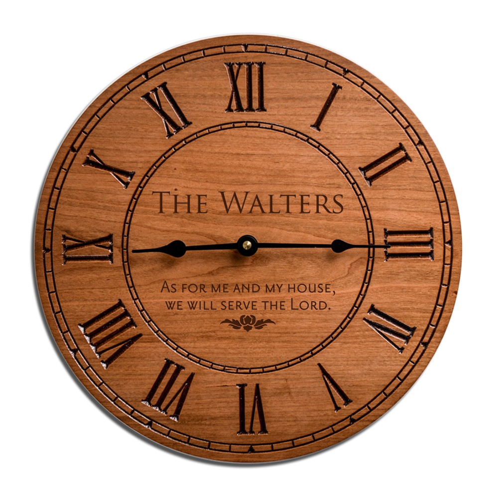 Personalized desk clocks engraved clocks personalized gorgeous cherry wood family 12 inch wall clock jeuxipadfo Images