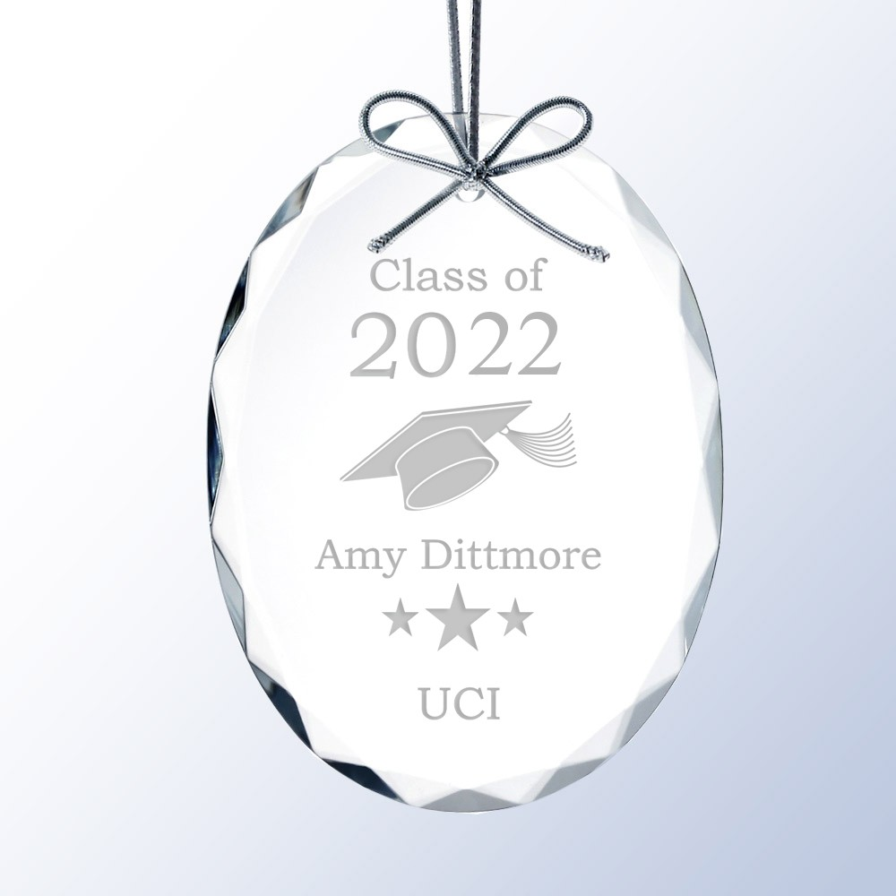 Crystal Christmas Ornaments.Personalized Graduation Crystal Christmas Ornament