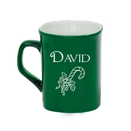 Personalized Green Ceramic Candy Cane Mug