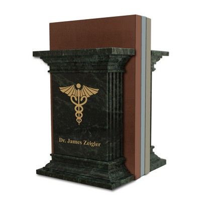 Personalized Green Marble Bookends with Caduceus