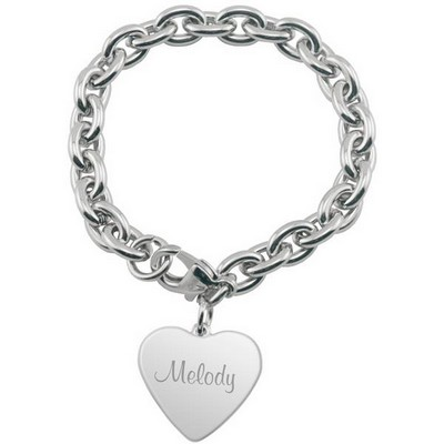 Personalized Heart Charm Bracelet