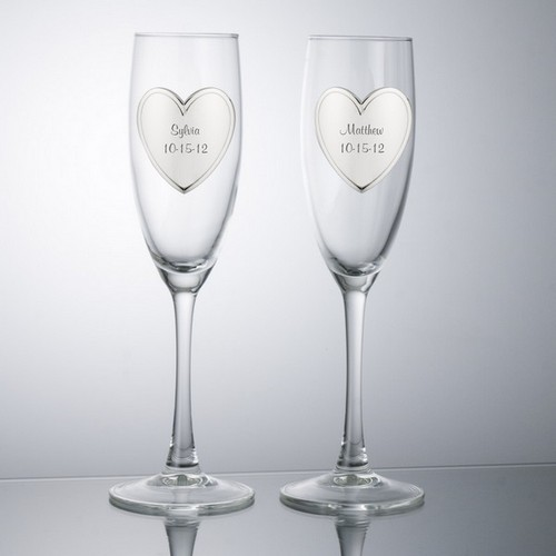 Personalized Heart Toasting Glasses