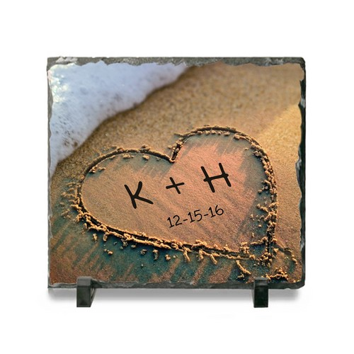 Personalized Heart in Sand Ceramic Slate Plaque