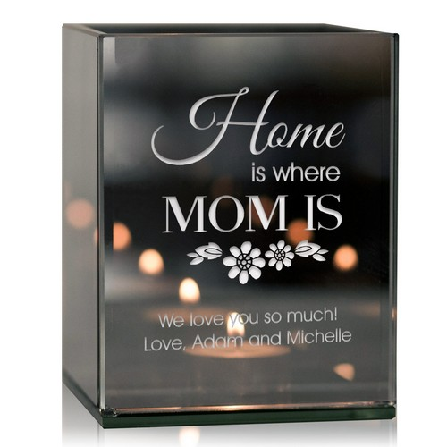 Personalized Home is Where Mom is Tealight Candle Holder