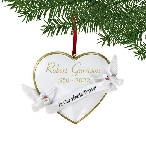 Wedding Heart Doves Personalized Christmas Tree Ornament