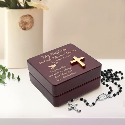 Personalized Inspirational Wooden Baptism Rosary Box