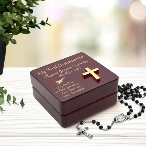 Personalized Inspirational Wooden First Communion Rosary Box