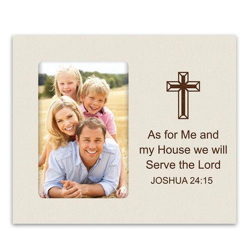 Personalized Ivory 4x6 Photo Frame with Cross