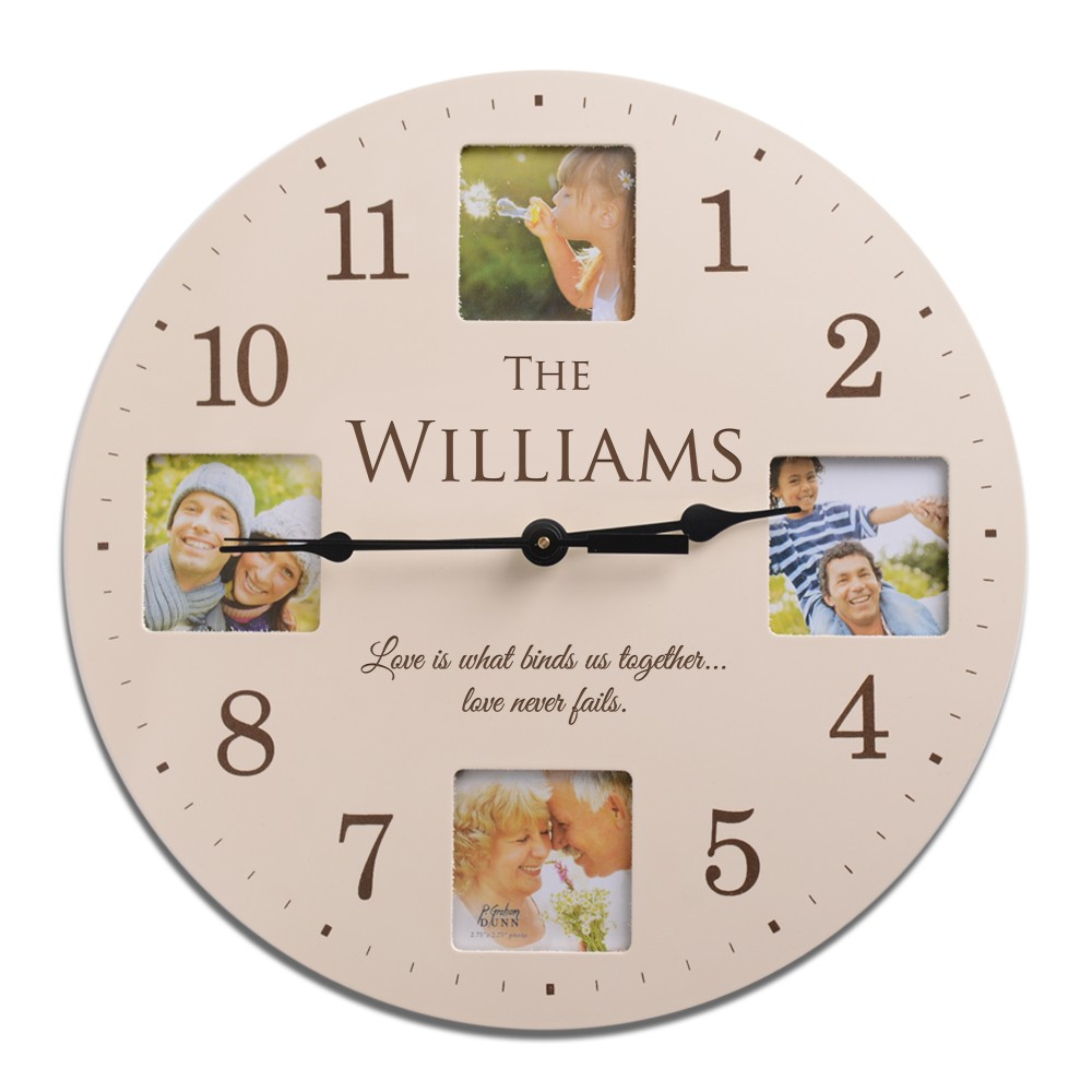 personalized ivory finish family photo wall clock. Black Bedroom Furniture Sets. Home Design Ideas