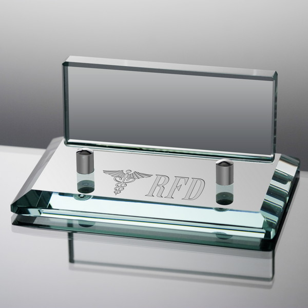 Personalized Jade Glass Business Card Holder for Doctors