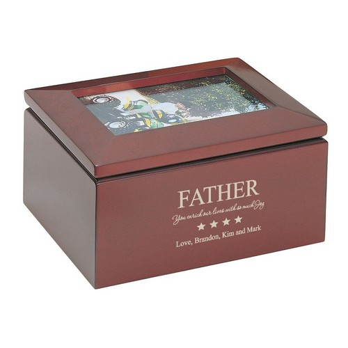 Personalized Keepsake Box with Picture Frame for Dad