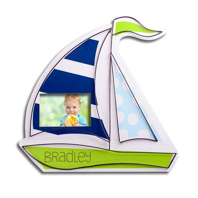 Personalized Kids Room Sailboat Decor Wall Art with 4x6 Frame