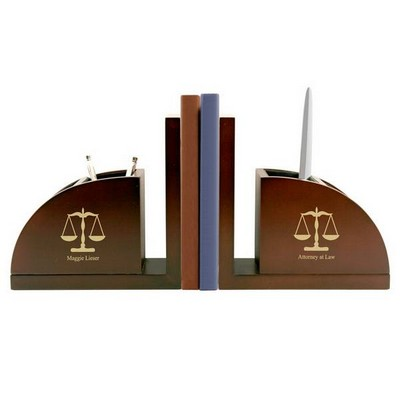 Personalized Lawyers Book Ends and Organizer