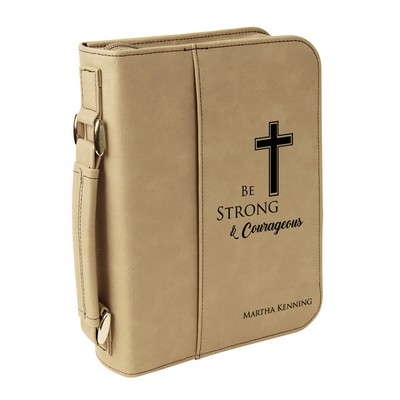 Light Brown Leatherette Personalized Large Bible Cover with Handle