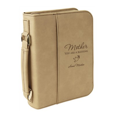 Personalized Light Brown Leatherette Bible Cover for Mom