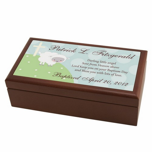 Personalized Little Lamb Baptism Keepsake Box