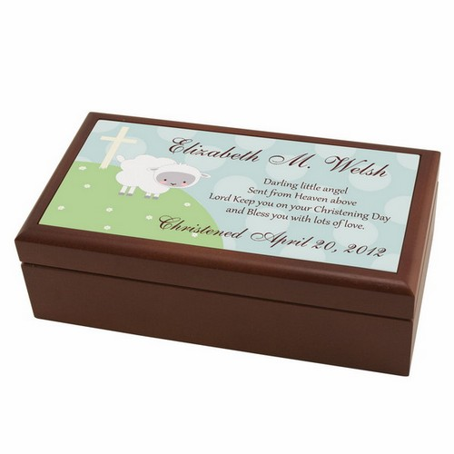 Personalized Little Lamb Christening Keepsake Box