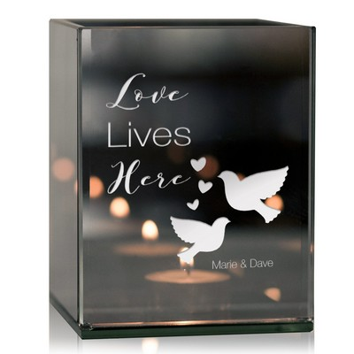 Personalized Love Lives Here Tealight Candle Holder