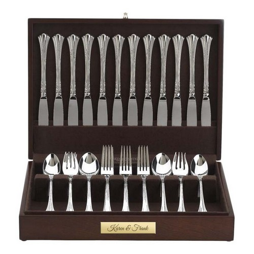 Personalized Mahogany Finish Somerset Flatware Storage Chest