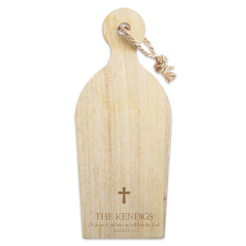 Personalized Mango Wood Cutting Board with Cross