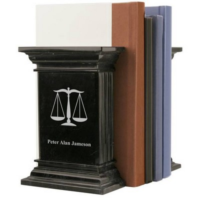 Personalized Marble Lawyer Bookends with Scales of Justice