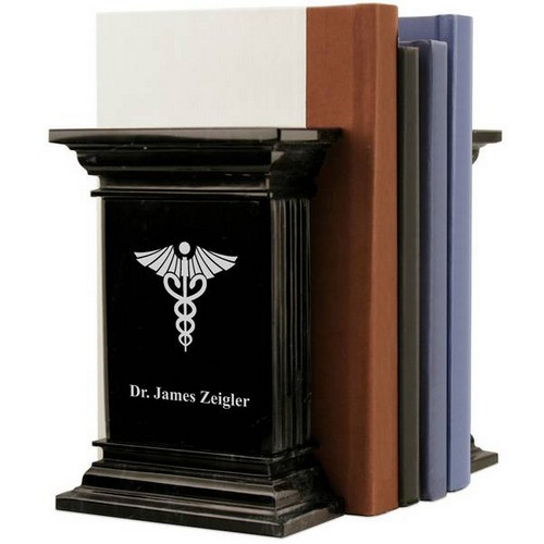 Personalized Marble Medical Bookends with Caduceus