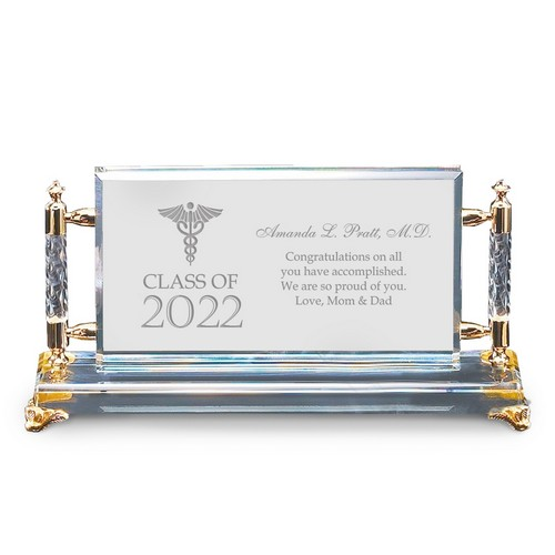 Remarkable Personalized Medical School Graduation Gold Accent Crystal Plaque