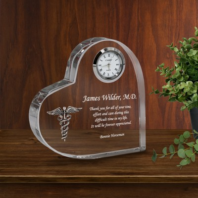 Personalized Crystal Heart Medical Keepsake Clock Plaque with Silver Caduceus