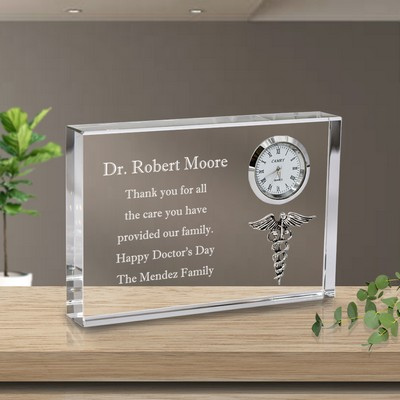 Personalized Medical Keepsake Crystal Clock Plaque with Silver Caduceus