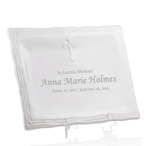 Personalized Memorial Ceramic Cross Platter