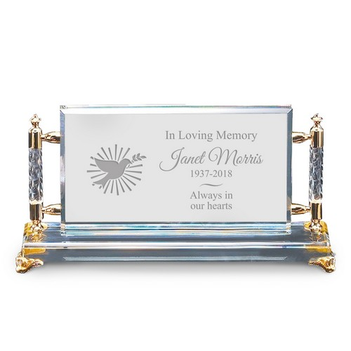Unique Personalized Memorial Gold Accent Crystal Plaque