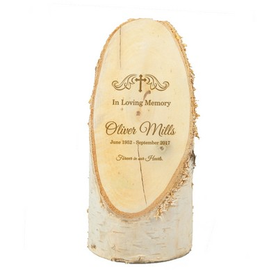 Unique Personalized Memorial Natural Birch Wood Plaque