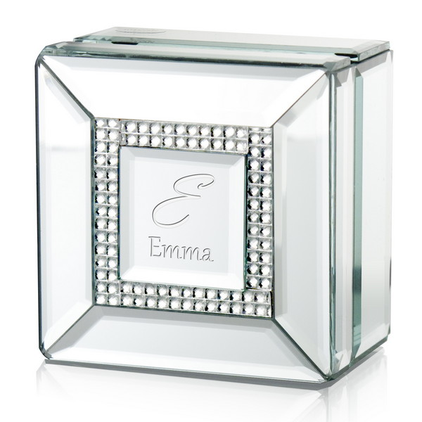 Personalized Mirror Rhinestone Jewelry Box