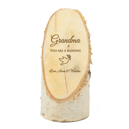 Personalized Natural Birch Wood Plaque for Grandma