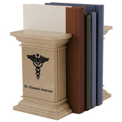 Personalized Natural Marble Caduceus Bookends