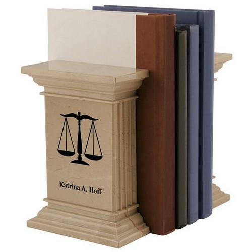 Personalized Natural Marble Scales of Justice Bookends