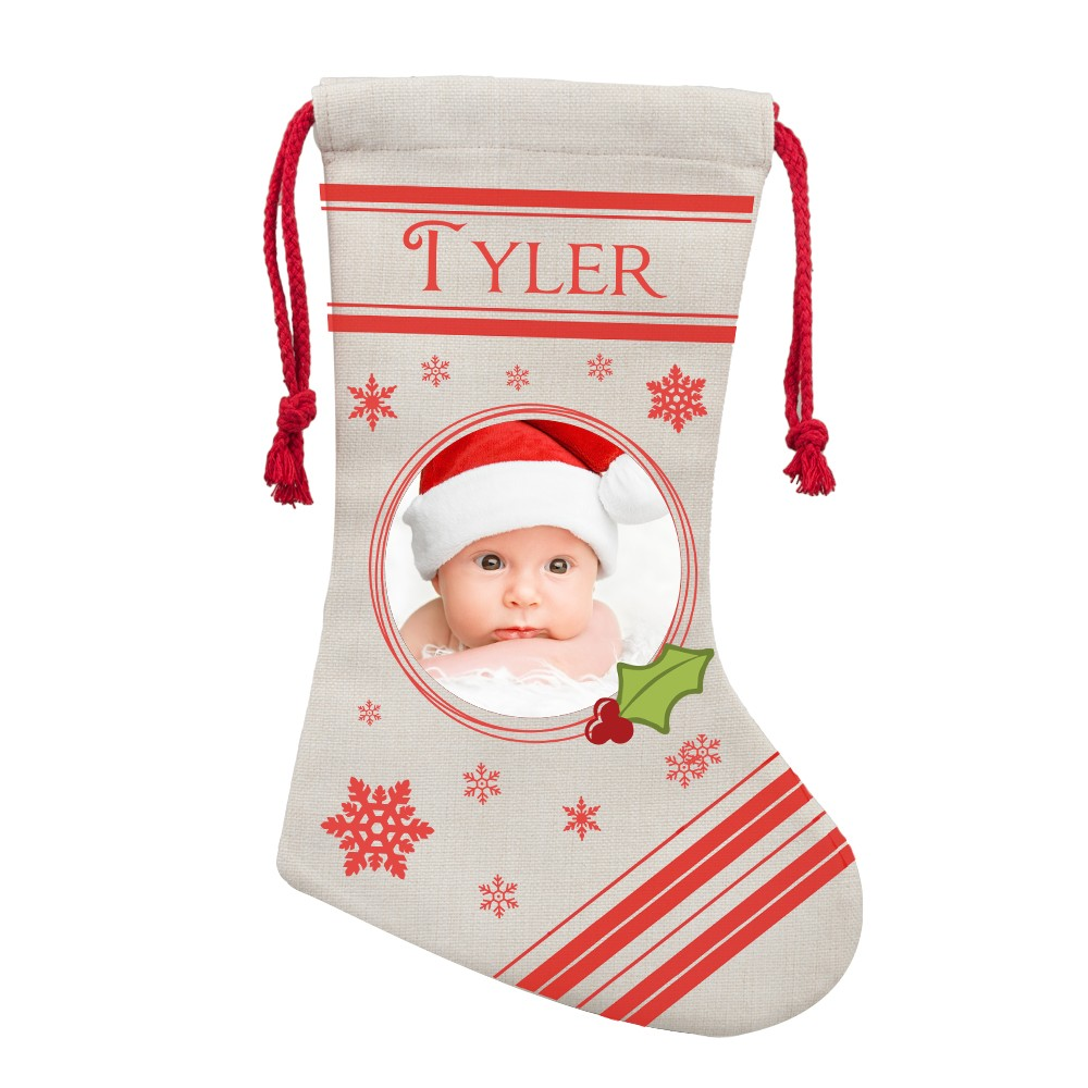 Personalized Photo Christmas Stocking for Baby