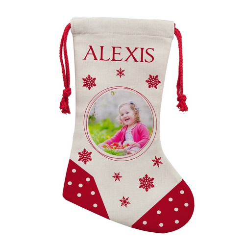 Personalized Photo Christmas Stocking for Her