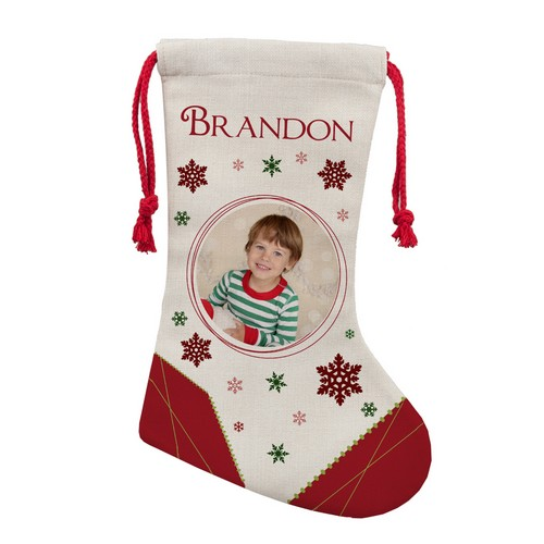 Personalized Photo Christmas Stocking for Him