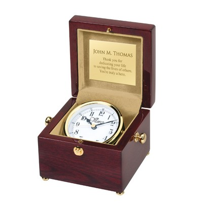 Exceptional Personalized Piano Finish Clock in Wood Box