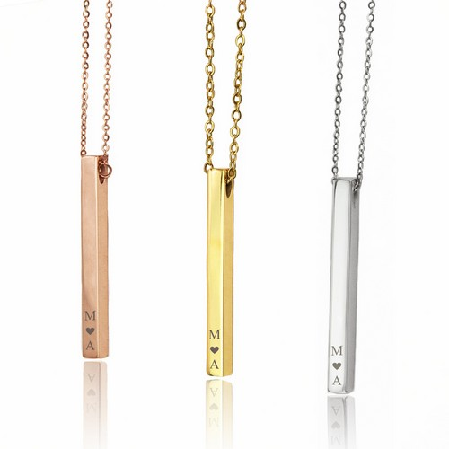 Lovely Personalized Pillar Bar Necklace